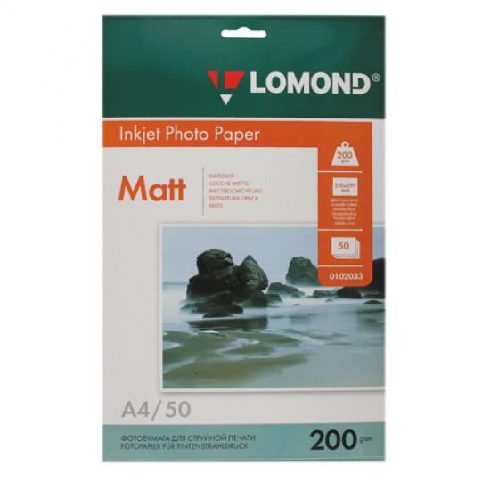 Фотобумага Lomond Ink Jet А4, 200г/кв.м, 50л, матовая, двусторонняя 0102033