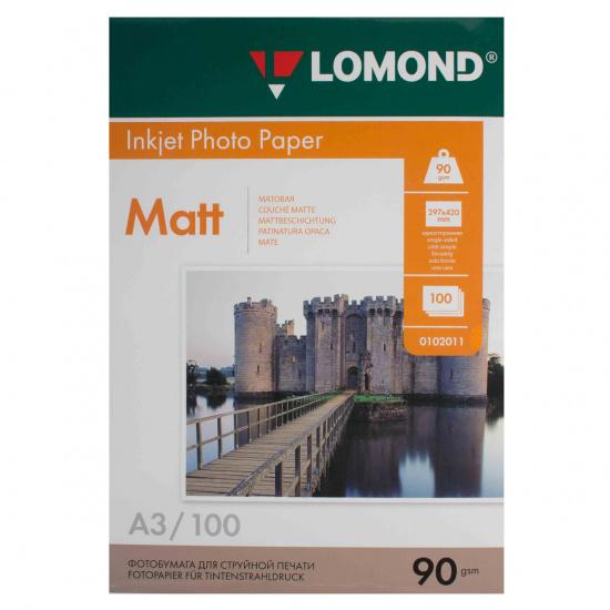Фотобумага Lomond Ink Jet А3, 90г/кв.м., 100л, матовая 0102011