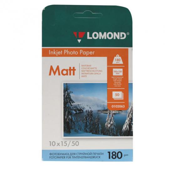 Фотобумага Lomond А6 (100*150мм), 180г/кв.м, 50л, матовая 0102063