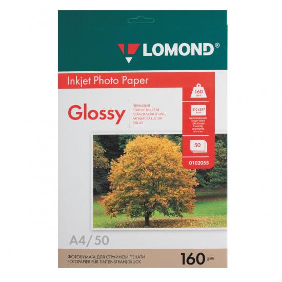 Фотобумага Lomond Ink Jet А4, 160г/кв.м., 50л, глянцевая 0102055