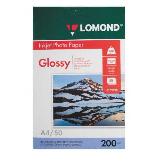 Фотобумага Lomond Ink Jet А4, 200г/кв.м., 50л, глянцевая 0102020