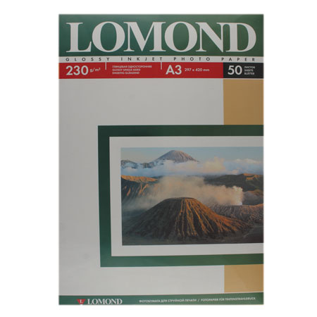 Фотобумага Lomond Ink Jet А3, 230г/кв.м., 50л, глянцевая 0102025