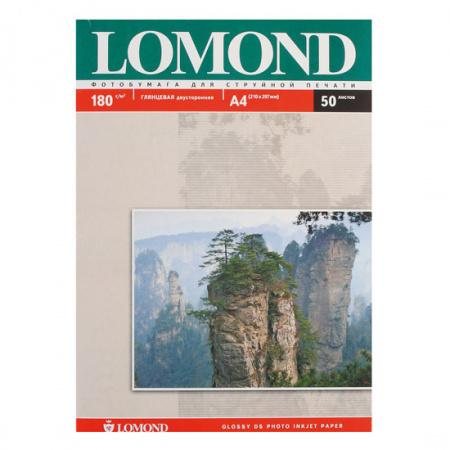 Фотобумага Lomond Ink Jet А4, 180г/кв.м., 50л, глянцевая, двусторонняя 0102065