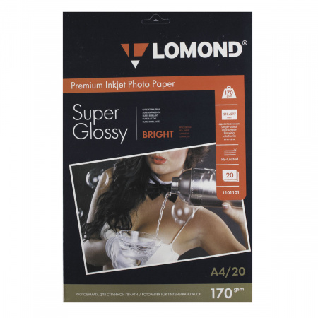Фотобумага Lomond Super Glossy Bright 170/A4/20 одн. 1101101