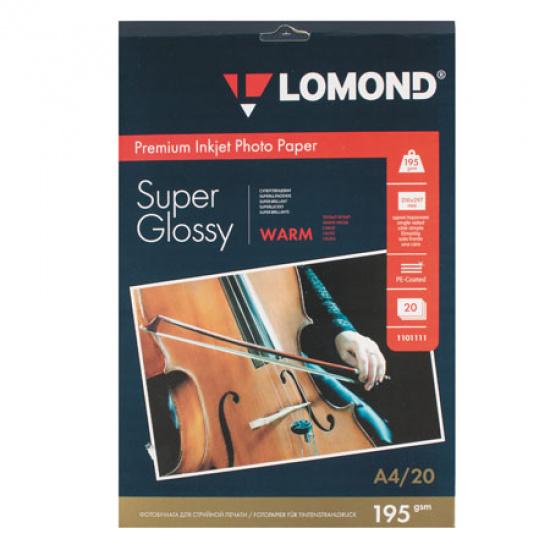 Фотобумага А4, 195г/кв.м., 20л, суперглянцевая Lomond 1101111