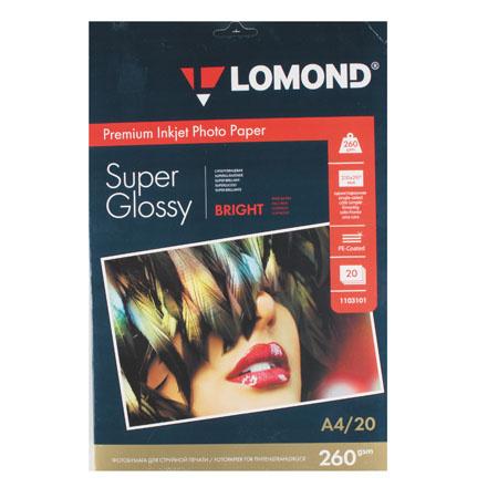 Фотобумага А4, 260г/кв.м., 20л, суперглянцевая Lomond 1103101