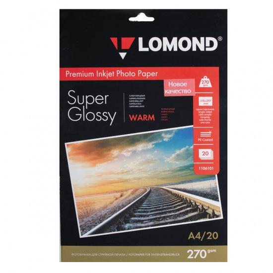 Фотобумага А4, 270г/кв.м., 20л, суперглянцевая Lomond 1106101