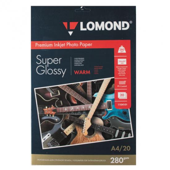 Фотобумага А4, 280г/кв.м., 20л, суперглянцевая Lomond 1104101