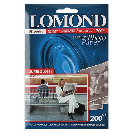 Фотобумага А6 (100*150мм), 200г/кв.м., 20л, суперглянцевая Lomond 1101113