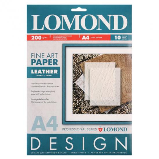 Фотобумага Lomond А4, 200г/кв.м, 10л, глянцевая, кожа 0918041