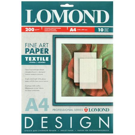А4, 200г/кв.м., 10л, глянцевая, двусторонняя, ткань Lomond 0920041