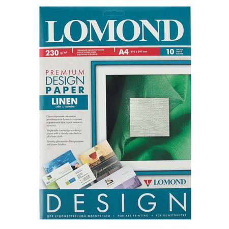 Фотобумага дизайн премиум ЛЕН 230/А4/10 глянц. Lomond 0934041