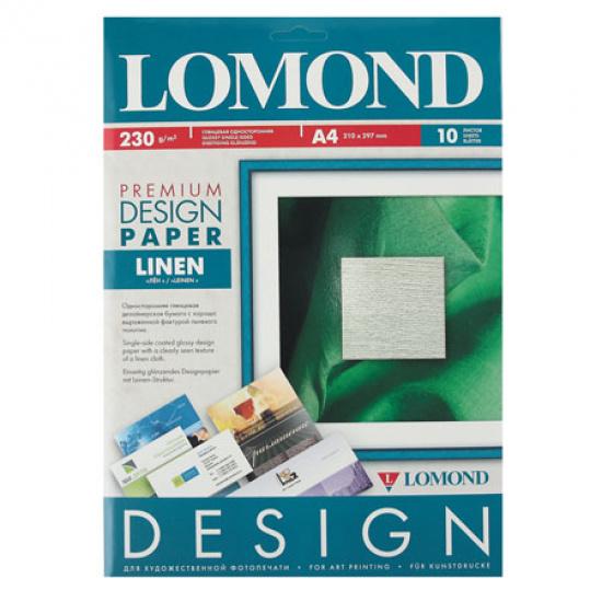 Фотобумага Lomond А4, 230г/кв.м, 10л, глянцевая, лен 0934041