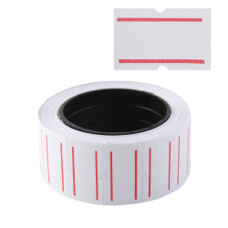 Этикет-лента 21*12 400шт белая с красной полосой прямоугольная Mazari M-1400