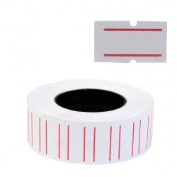 Этикет-лента   21*12мм, форма прямоугольная, 950, цвет белый с красной полосой Mazari M-1950
