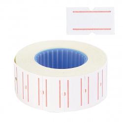 Этикет-лента 21*12 750шт белая с красной полосой прямоугольная