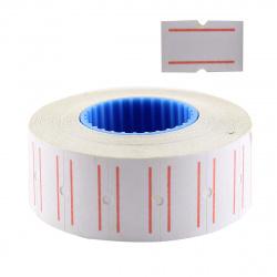 Этикет-лента 21*12 700шт белая с красной полосой прямоугольная