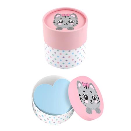 Блок для записей 70*70мм, фигурный, не склеенный, пастель, розовый, подставка картонная, 700л Cute Cat deVENTE 2013000