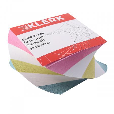 Блок для записей 8*8*4 волна 4 цвета склеенный KLERK 205811