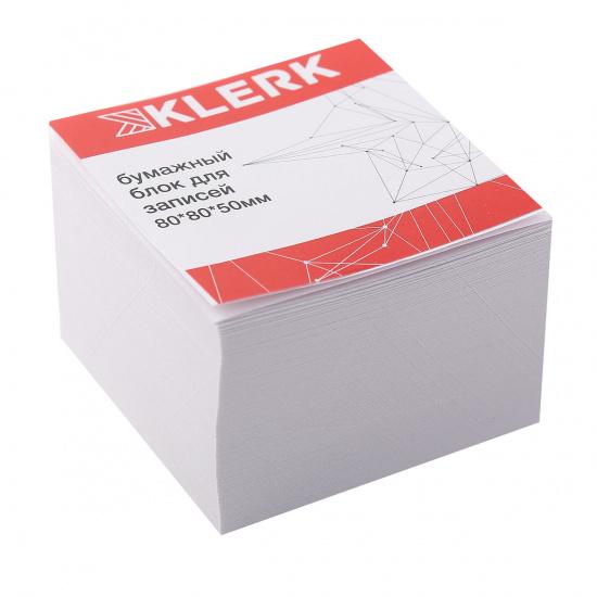 Блок для записей 80*80*50мм, куб, не склеенный, белый, белизна 96% KLERK 205815