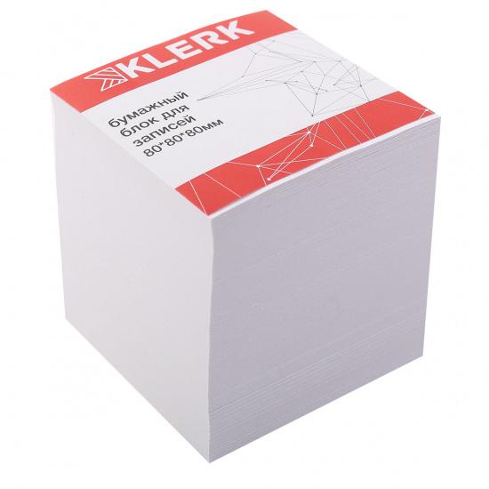 Блок для записей 80*80*80мм, куб, не склеенный, белый, белизна 96% KLERK 205816