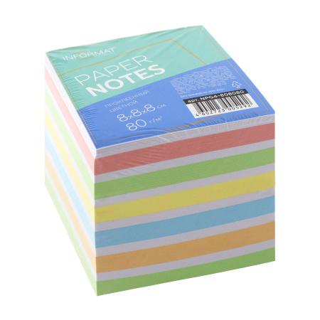 Блок для записей 80*80*80мм, куб, склеенный, 6 цветов inФОРМАТ NPG4-808080