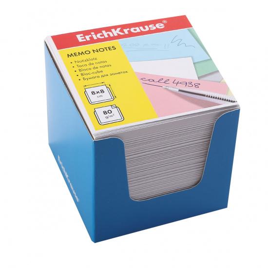 Блок для записей 80*80*80мм, куб, не склеенный, белый, подставка картонная синяя Erich Krause 36986