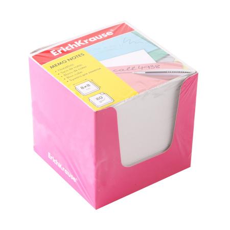 Блок для записей 8*8*8 куб белый в розовой картонной подставке Erich Krause 36988