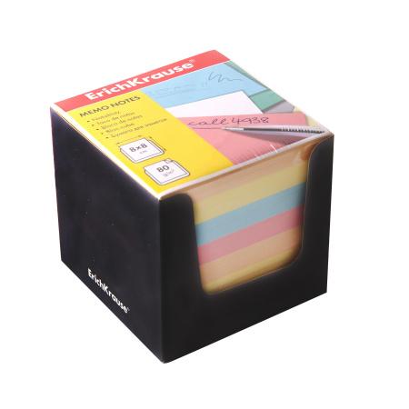 Блок для записей 8*8*8 куб 4 цвета в черной картонной подставке Erich Krause 36995
