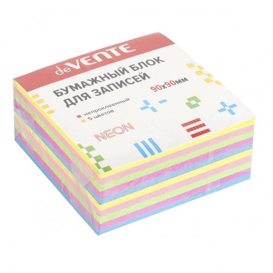 Блок для записей 90*90*40мм, куб, не склеенный, неон, 5 цветов deVENTE 2012703