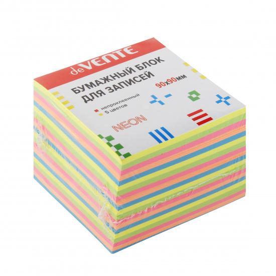 Блок для записей 90*90*90мм, куб, не склеенный, неон, 5 цветов deVENTE 2012704