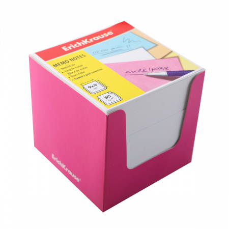 Блок для записей 90*90*90мм, куб, не склеенный, белый, подставка картонная розовая Erich Krause 37010