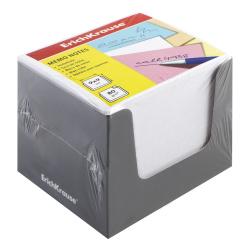 Блок для записей 90*90*90мм, куб, не склеенный, белый, подставка картонная серая Erich Krause 37007