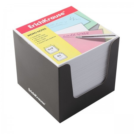 Блок для записей 9*9*9 куб белый в серой картонной подставке Erich Krause 37007