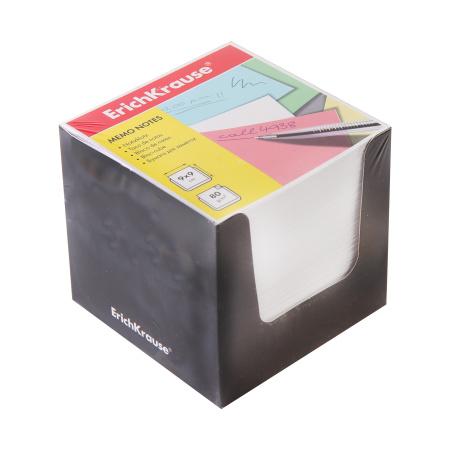 Блок для записей 90*90*90мм, куб, не склеенный, белый, подставка картонная черная Erich Krause 37006