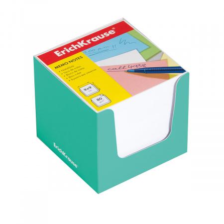 Блок для записей 90*90*90мм, куб, не склеенный, белый, подставка картонная зеленая Erich Krause 37009