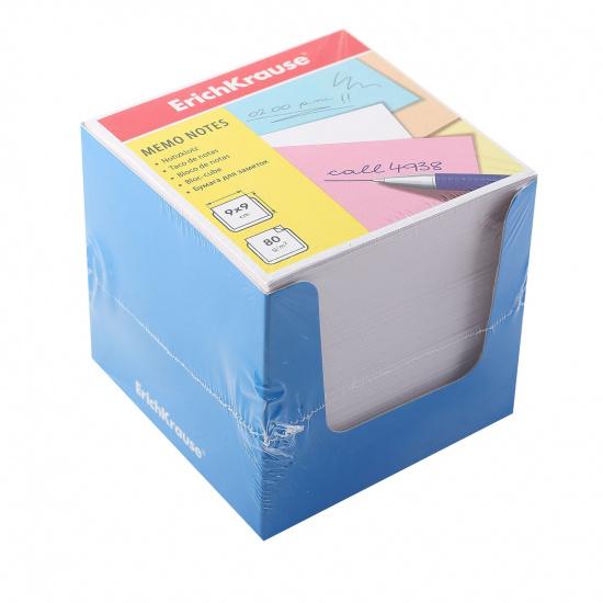 Блок для записей 90*90*90мм, куб, не склеенный, белый, подставка картонная синяя Erich Krause 37008
