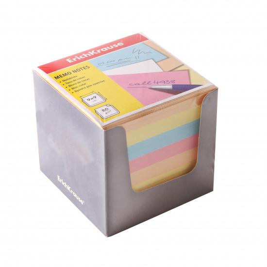 Блок для записей 90*90*90мм, куб, не склеенный, 4 цвета, подставка картонная серая Erich Krause 37012