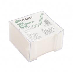 Блок для заметок 8*8*5 куб белый в пластиковой подставке Стамм Офис БЗ 59