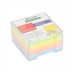 Блок для записей 8*8*5 куб 5 цветов в пластиковой подставке Стамм ПЦ01