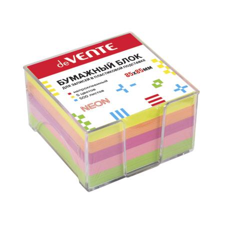 Блок для записей 8,5*5 куб 5 цветов офсет 80г/м2 в пластиковой подставке цветов неон deVENTE 2013700