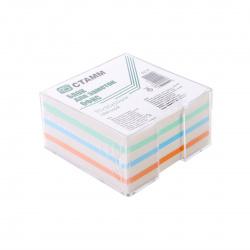 Блок для записей 9*9*5 куб 3 цвета+газетка в пластиковой подставке Стамм Эконом БЗ 57