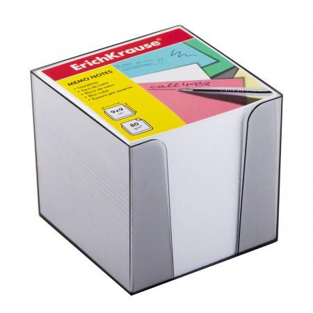 Блок для записей 90*90*90мм, куб, не склеенный, белый, подставка пластиковая Erich Krause 4458