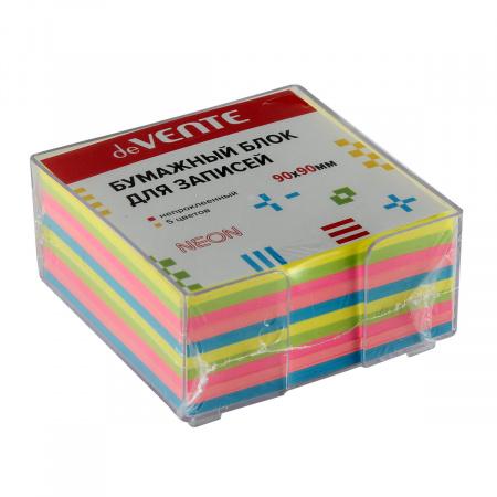 Блок для записей 9*9*4 куб 5 цветов офсет 80г/м2 в пластиковой подставке цветов неон deVENTE 2013701