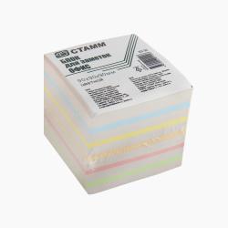 Блок для записей 90*90*90мм, куб, не склеенный, 5 цветов+серый газетка Стамм БЗ 56