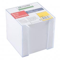 Блок для записей 90*90*90мм, куб, не склеенный, белый, подставка пластиковая прозрачная Стамм ПВ41