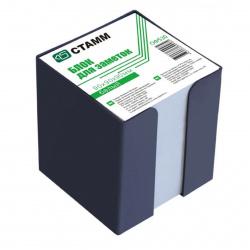 Блок для записей 90*90*90мм, куб, не склеенный, серый (газетка), подставка пластиковая черная Стамм ОФ530