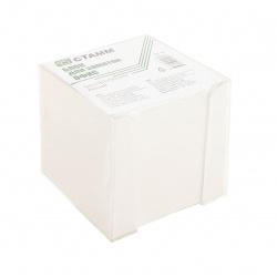 Блок для записей 90*90*90мм, куб, не склеенный, серый (газетка), подставка пластиковая прозрачная Стамм БЗ 54