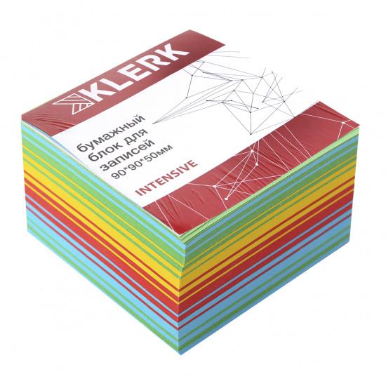Блок для записей 90*90*50мм, куб, не склеенный, интенсив, 4 цвета Радужный микс KLERK 205820