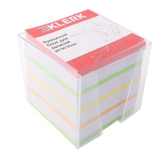 Блок для записей 90*90*90мм, куб, не склеенный, 5 цветов, белизна 92%, подставка пластиковая KLERK 210057